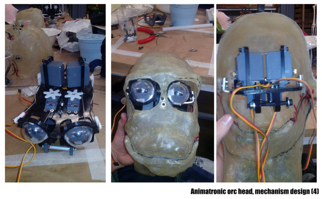 Animatronic orc head, mechanism design II.
