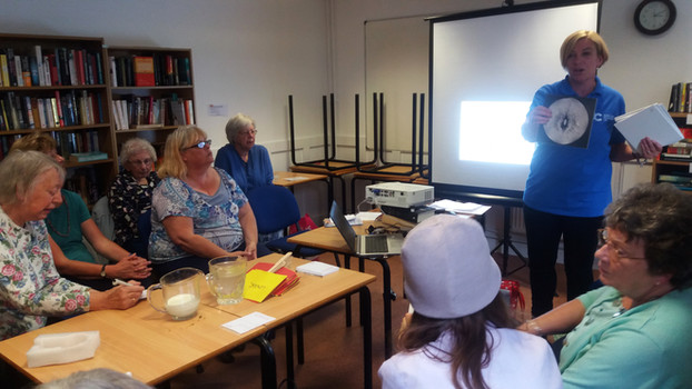Bosom Friends meeting with guest speaker from Cancer Research UK