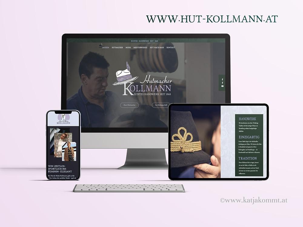 Hut & Mode Kollmann Website © KATJA KOMMT - AGENTUR FÜR BESSERE KOMMUNIKATION