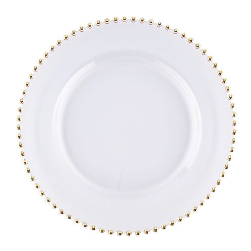 Gold Glass Beaded Dinner Charger Plate