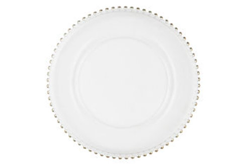 Silver Glass Beaded Dinner Charger Plate
