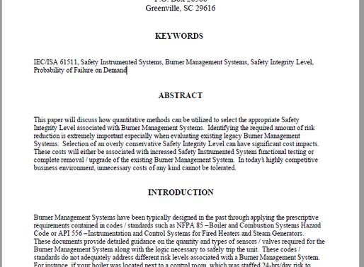 Burner Management System Safety Integrity Level Selection