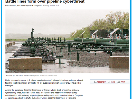 E&E News : Battle lines form over pipeline cyberthreat
