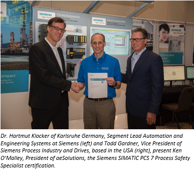 First in Americas : Siemens SIMATIC PCS 7 Safety Specialist Cert