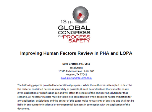 Improving Human Factors Review in PHA and LOPA