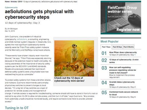 aeSolutions gets physical with cybersecurity steps: CONTROL
