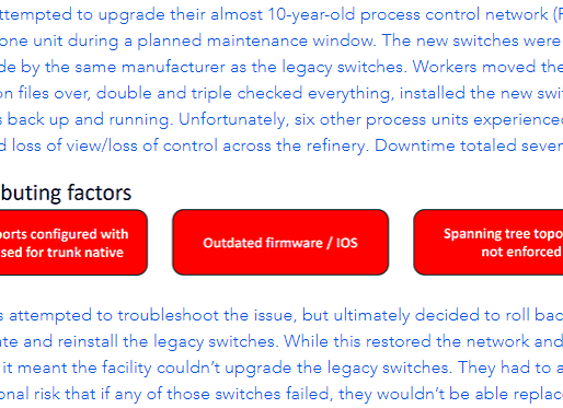 Lessons learned by a refinery after accidentally shutting down their process control network