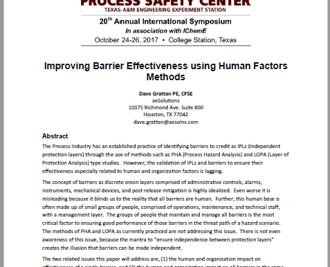 Improving Barrier Effectiveness using Human Factors Methods