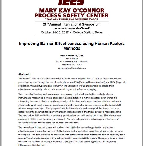 Improving Barrier Effectiveness using Human Factors Methods