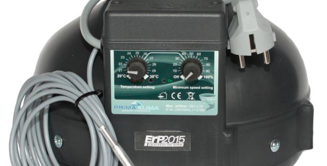 PK Rohrventilator 100, 280m³/h, für 100 mm Rohr, verkabelt, integr. temperaturab