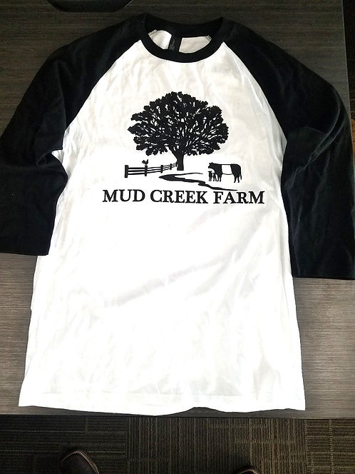 Mud Creek main logo 3/4 sleeve baseball shirt