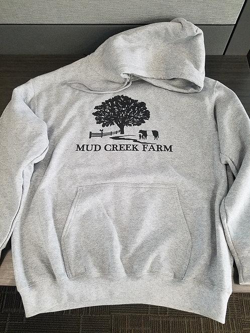 Mud Creek main logo grey hoodie