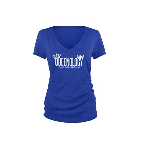 Queenology 2.0 V-Neck T-shirt (Blue/Silver Metallic)
