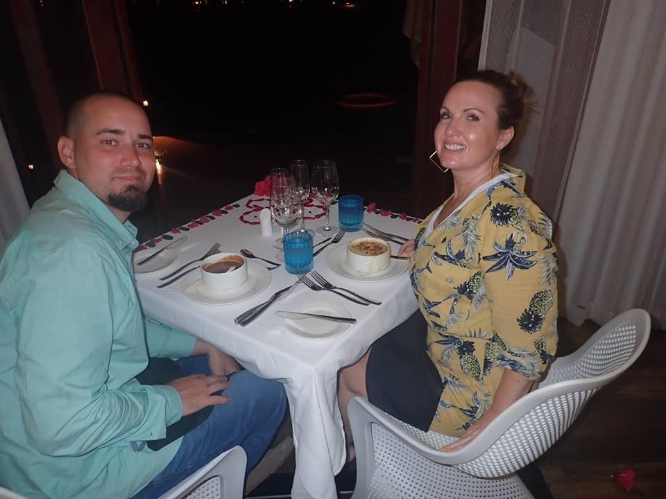 dinner in bungalow overwater