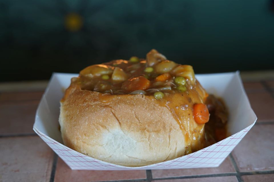 Soup in a bread bowl at Texas Renaissance Festival