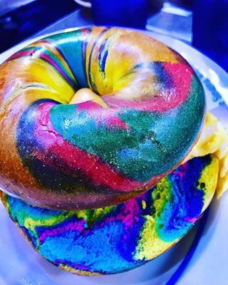 colorful bagels at ellen stardust diner