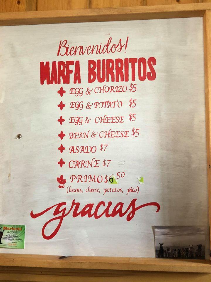 Menu at Marfa Burrito
