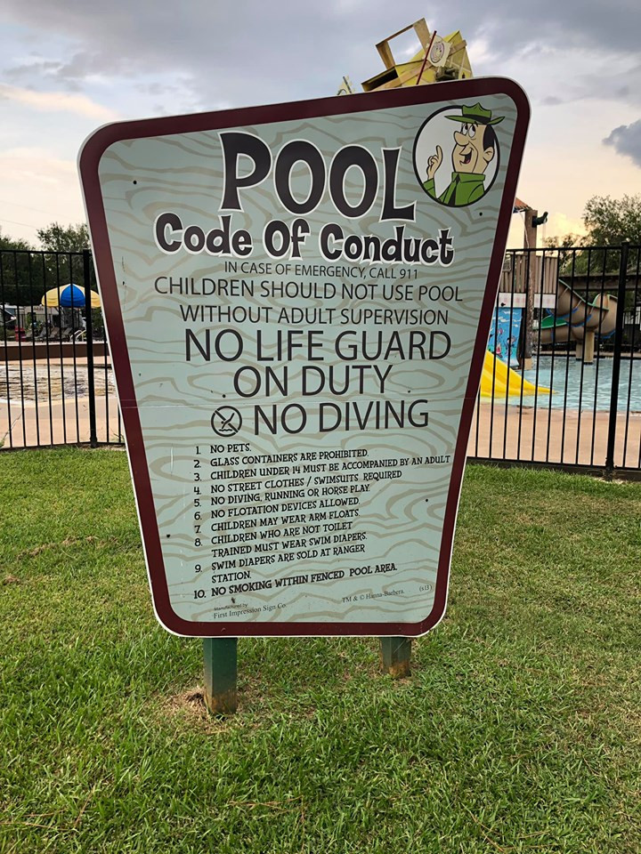 Pool Code of Coduct at Jellystone Park