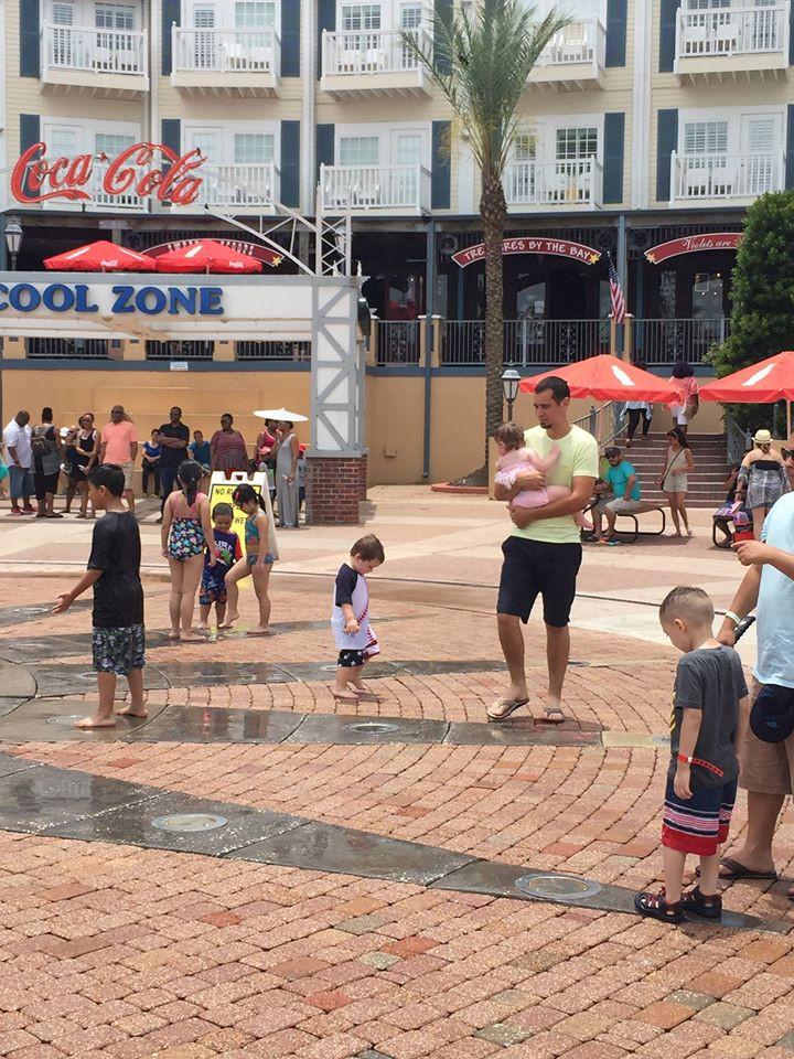 playing in water at Kemah Boardwalk