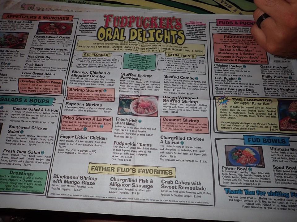 menu at fudpuckers in destin