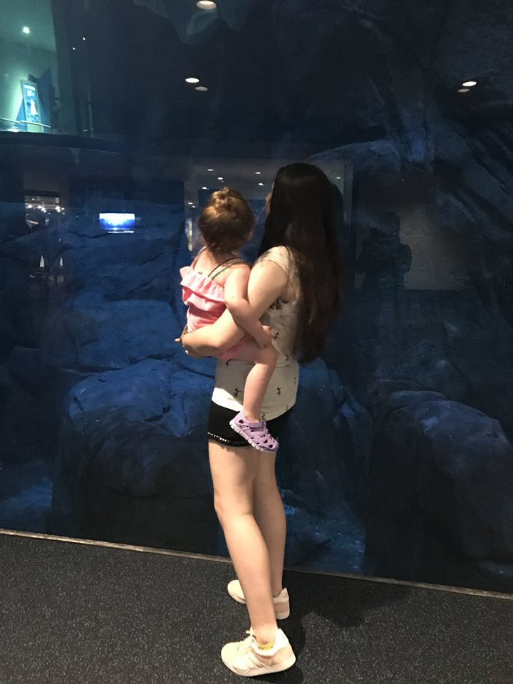 watching fish at Aquarium Pyramid