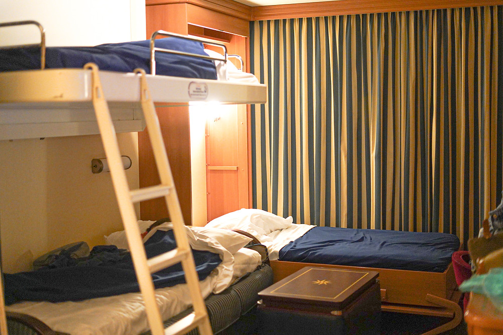 Room with beds on Disney Cruise