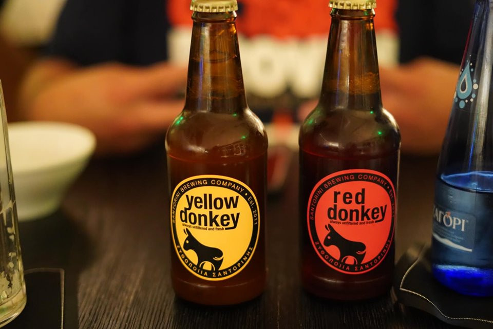 Yellow and Red Donkey Beer in Athens