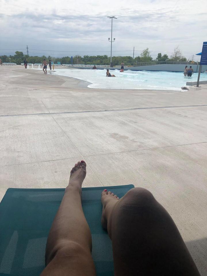 Cabana view of wave pool at Epic Waterpark
