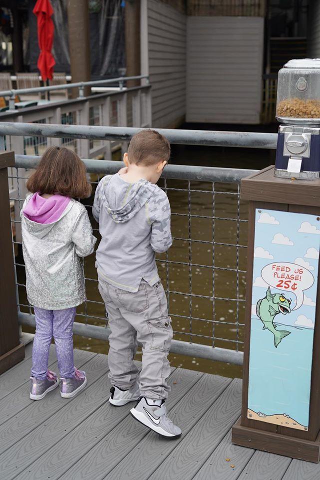 feeding fish on Kemah Boardwalk