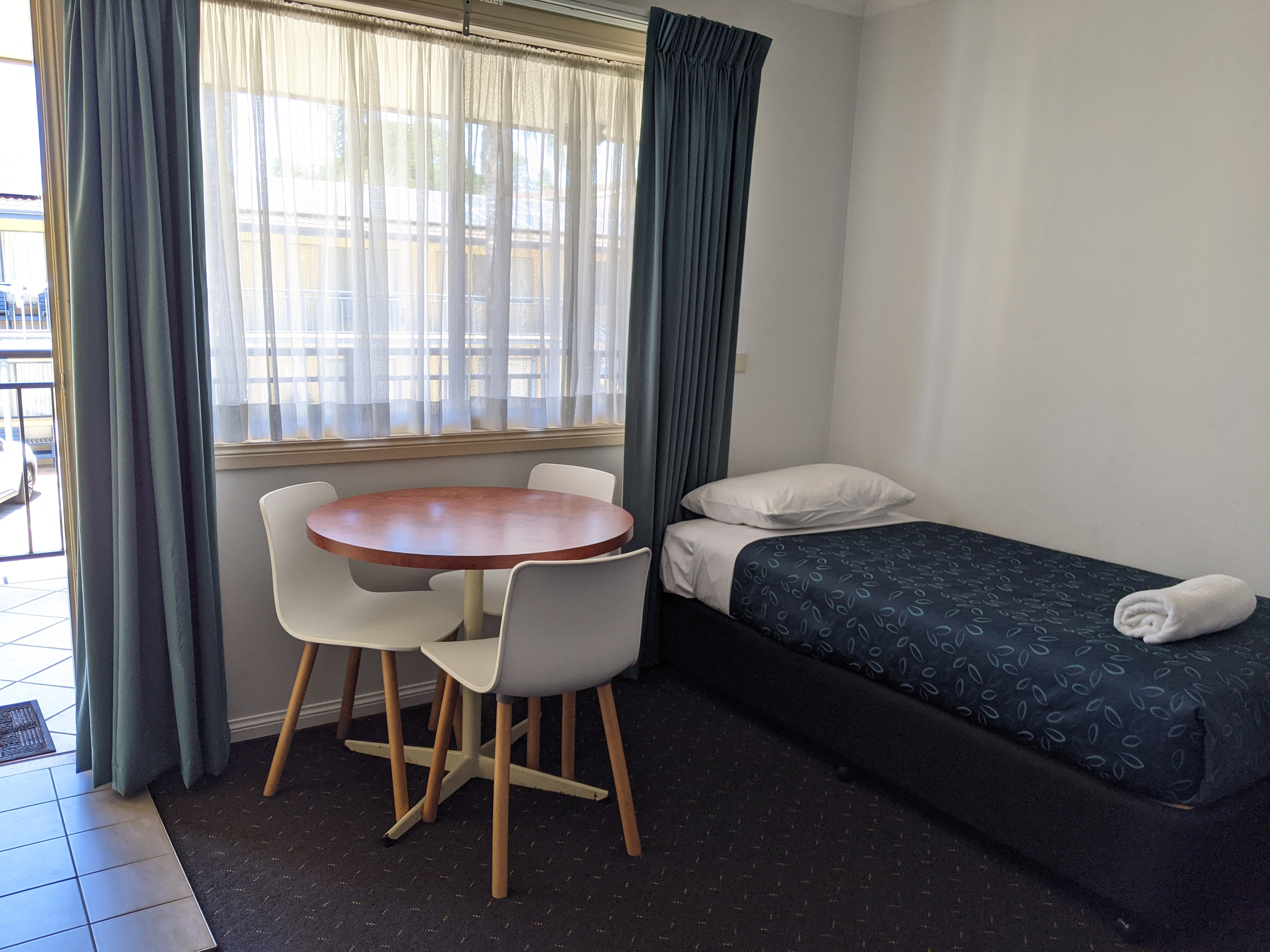 table and single bed