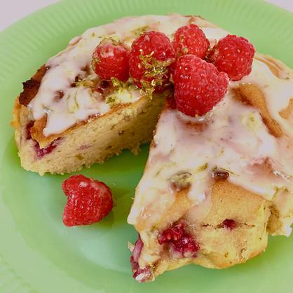 Raspberry Almond Cake with Lime Glaze