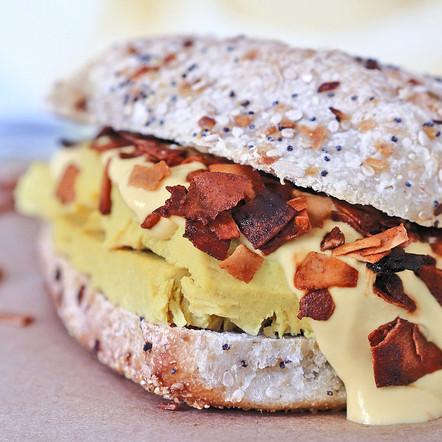 Breakfast Sandwich with Coconut Bacon