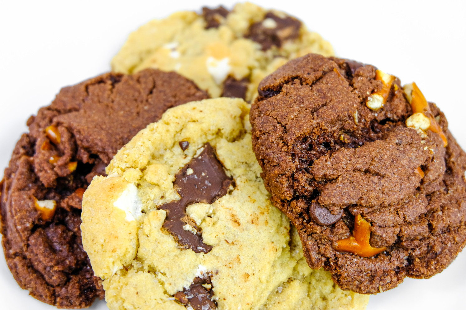 Chocolate Chunk and Double Chocolate Salted Pretzel Cookies