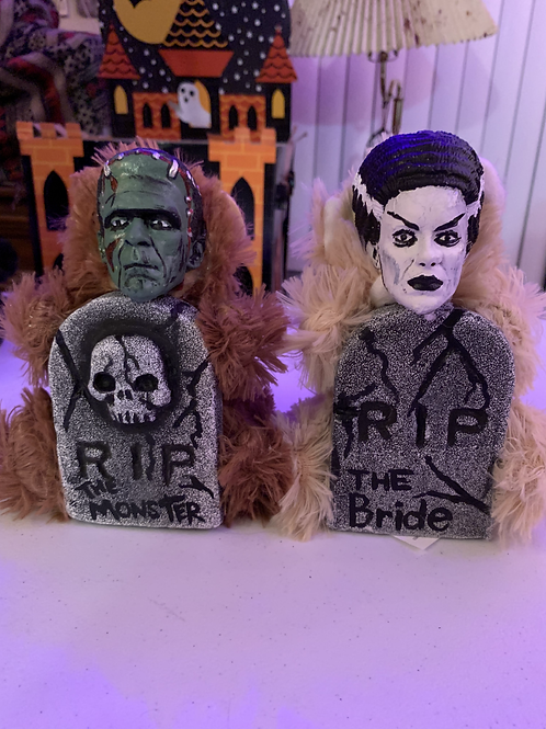 Bride of Frankenstein with Tombstone Mini Bear