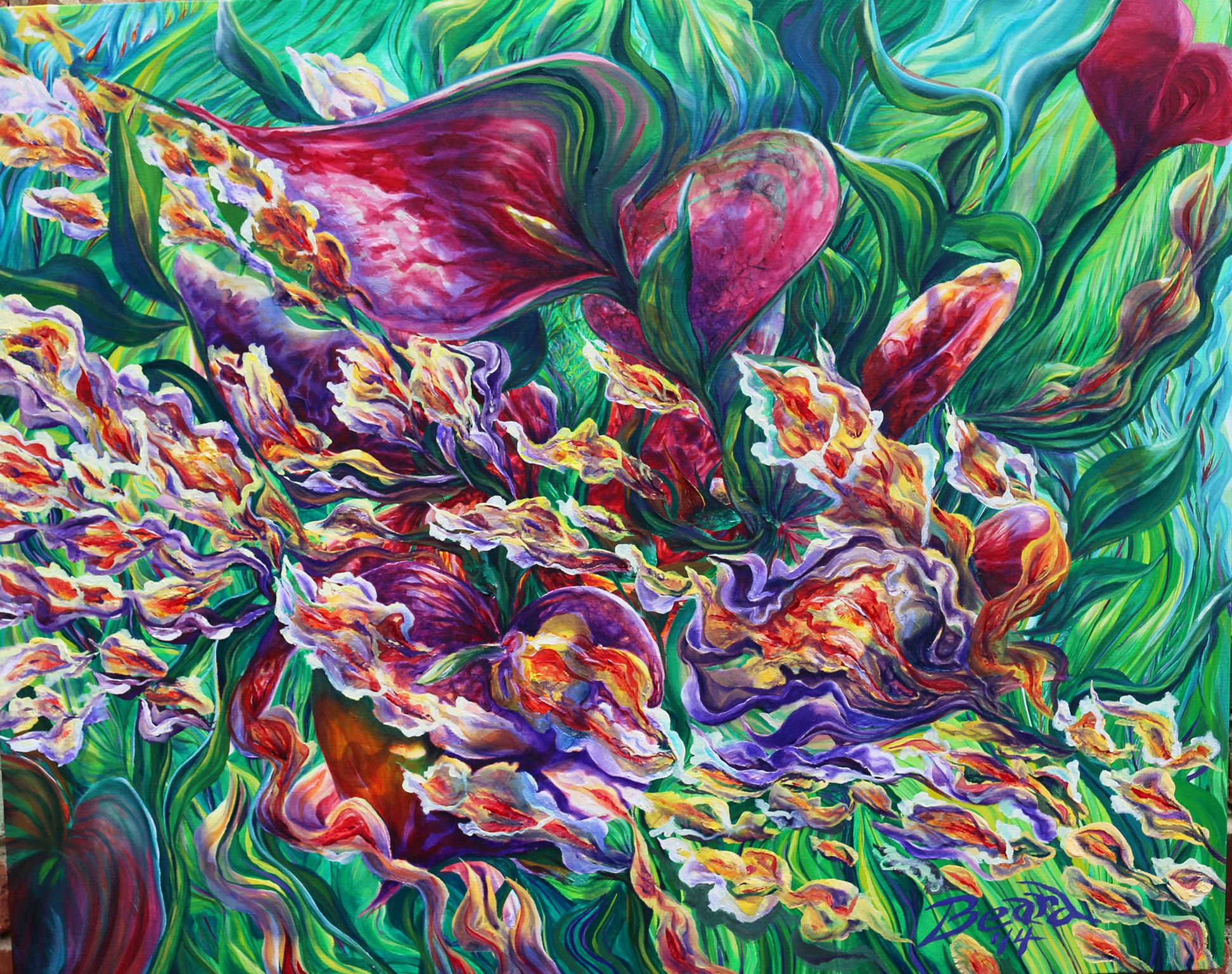 Red Floral Cascade sz