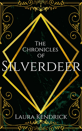 The Chronicles Of Silverdeer book cover. Green textured background, 1930's gold decoration