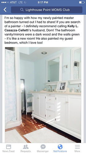 Bathroom cabinet refinishing and painting by Dominic Celletti, Broward County, Fl