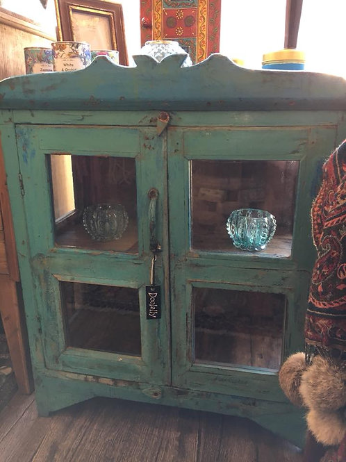 Indian Vintage Turquoise Cabinet