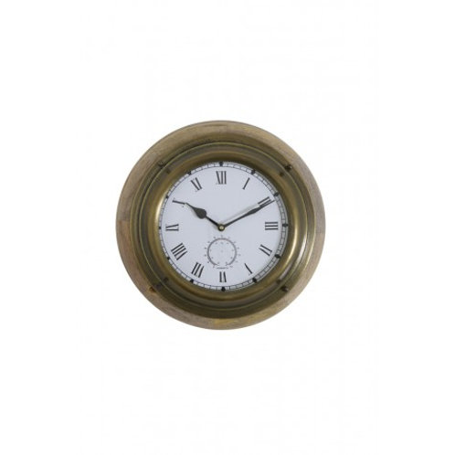 """Grays"" clock wood and antique bronze"