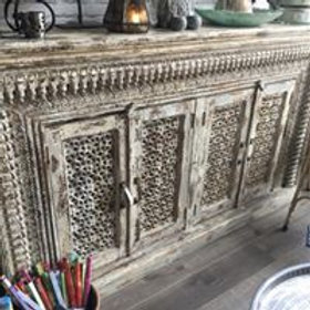 Authentic Indian Hand Carved Cream Cabinet