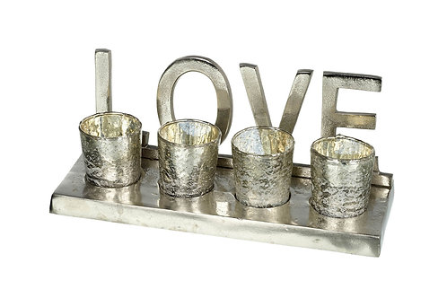 """Love"" Tlight Holder with Tray"