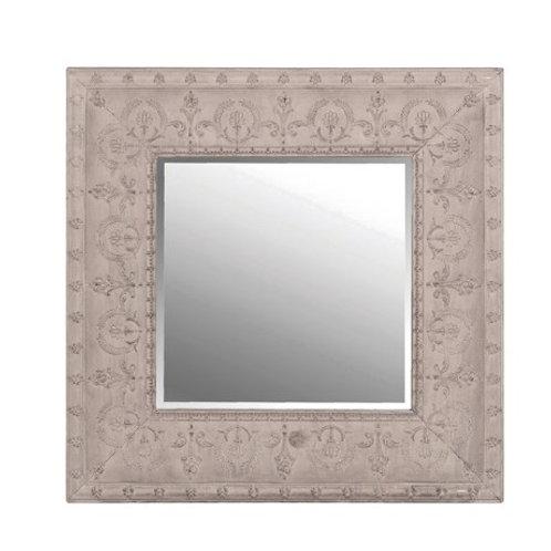 Grey embossed metal mirror