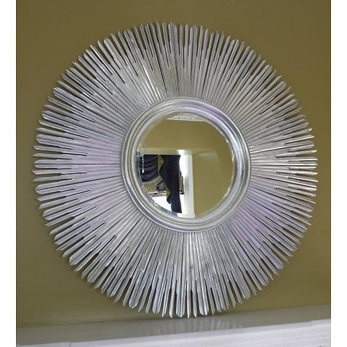 Silver Sunburst Hand Carved Mirror