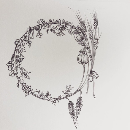 Botanical Wreath~ Amaranth, Poppy Buds,
