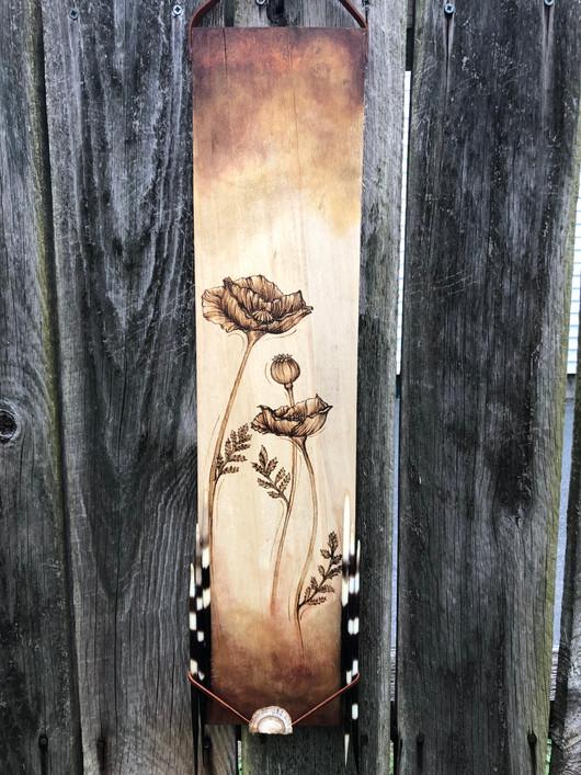 Burnt Wood, Porcupine Quills, Dried Turkey Tail Mushroom, Wood Stain