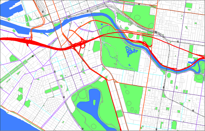 Colour-coded map of Melbourne using Geoscape Roads and related layers