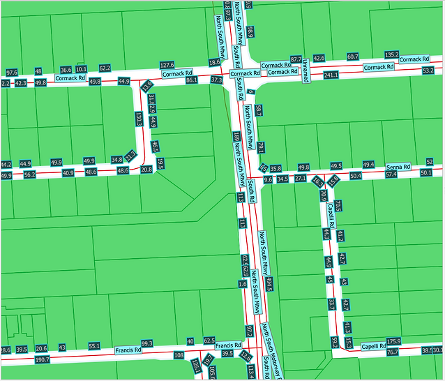 Street frontages and road polylines overlaid on Geoscape Cadastre