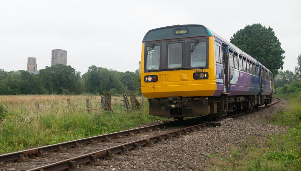 142061 Pacer departs Wymondham Abbey Halt credit Ian McDonald MNR.jpg