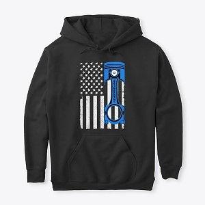 Classic Pullover Hoodie American Flag Blue Piston Nthefastlane