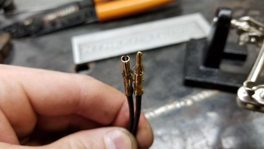 Finished Crimping And Soldering Pins To Wire